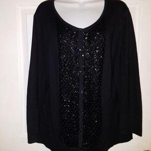TALBOTS Black Embellished Long Sleeve Cardigan